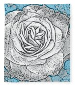 Ritzy Rose With Ink And Blue Background Fleece Blanket