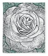 Ritzy Rose With Ink And Green Background Fleece Blanket