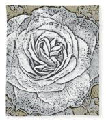 Ritzy Rose With Ink And Taupe Background Fleece Blanket