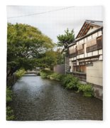 River And Houses In Kyoto Japan Fleece Blanket