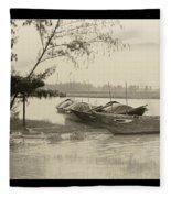 River Fishing Boats In Hoi An Fleece Blanket
