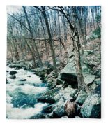 River Flowing Through A Valley, Hudson Fleece Blanket