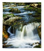 River Flowing Through Woods Fleece Blanket