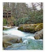 River House In Spring Fleece Blanket