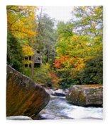 River House In The Fall Fleece Blanket