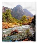 River In Zion National Park Fleece Blanket