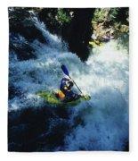 River Kayaking Over Waterfall, Crested Fleece Blanket