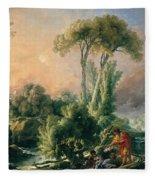 River Landscape With An Antique Temple Fleece Blanket