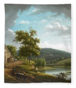 River Landscape With Farmhouse Fleece Blanket
