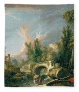 River Landscape With Ruin And Bridge Fleece Blanket