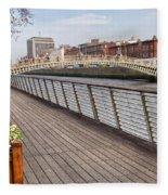 River Liffey Boardwalk In Dublin Fleece Blanket