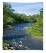 River Passing Through A Forest, Beaver Fleece Blanket