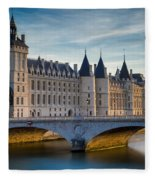 River Seine With Conciergerie Fleece Blanket
