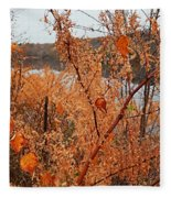 River Side Foliage Autumn Fleece Blanket