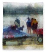 River Speed Boat Photo Art Fleece Blanket