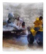 River Speed Boat White Photo Art Fleece Blanket