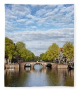 River View Of Amsterdam In The Netherlands Fleece Blanket