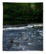 River Wye Waterfall - In Peak District - England Fleece Blanket