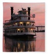 Riverboat At Sunset Fleece Blanket