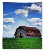 Riverbottom Barn Against The Sky Fleece Blanket by Cricket Hackmann