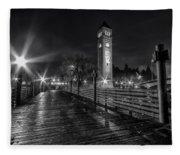 Riverfront Park Clocktower Seahawks Black And White Fleece Blanket
