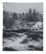 Riverfront Park Winter Storm - Spokane Washington Fleece Blanket