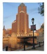 Riverwalk And Lamp Post Fleece Blanket