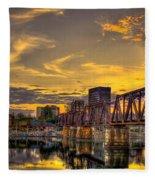 6th Street Sunset Augusta Georgia Riverwalk Marina Art Fleece Blanket