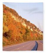 Road Along A River, Great River Road Fleece Blanket