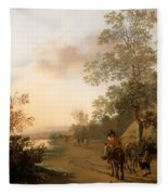 Road By The Edge Of A Lake Fleece Blanket