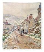 Road In Vetheuil In Winter Fleece Blanket