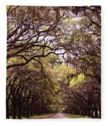 Road Of Trees Fleece Blanket
