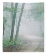 Road Passing Through A Forest, Skyline Fleece Blanket