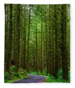 Road Through The Woods Fleece Blanket