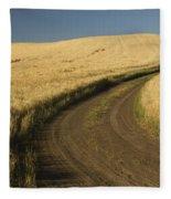Road Through Wheat Field Fleece Blanket