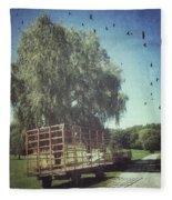 Morgan Horse Farm Vermont Farm Birds Fleece Blanket