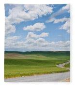 Road Winding Through The Palouse Wheatfields Fleece Blanket