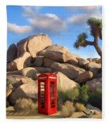 Phone Booth In Joshua Tree Fleece Blanket