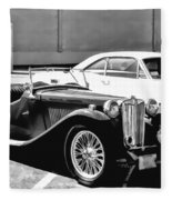 Roadster In Black And White Fleece Blanket
