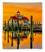 Roanoke Lighthouse Dawn Fleece Blanket