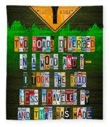 Robert Frost The Road Not Taken Poem Recycled License Plate Lettering Art Fleece Blanket