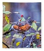 Robin And Berries Fleece Blanket