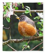 Robin In Apple Tree Fleece Blanket