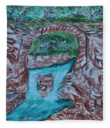 Rock Bridge Over Falls Fleece Blanket