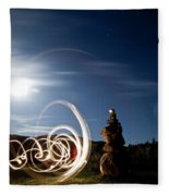 Rock Cairn With Light Painting Next Fleece Blanket