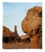 Rock Formations And Abandoned Building Fleece Blanket