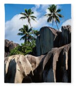 Rock Formations On The Beach, Anse Fleece Blanket