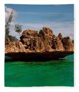 Rock In Indian Ocean With Mountain Fleece Blanket