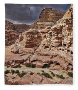 rock landscape with simple tombs in Petra Fleece Blanket