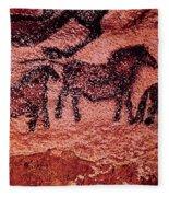 Rock Painting Of Tarpans Ponies, C.17000 Bc Cave Painting Fleece Blanket